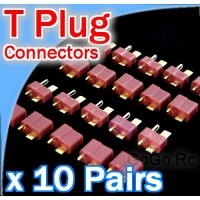 10 Pairs Deans T-plug RC LiPo battery connectors (T001x10)