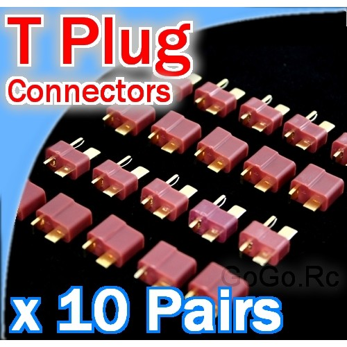 10 Pairs Deans T-plug RC LiPo battery connectors (T001x10)