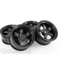 4 Pcs 1/10 RC Car 5 Spoke Wheel Rim Sports Black 6030