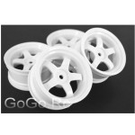 4 Pcs 1/10 RC Car 5 Spoke Wheel Rim Sports White (6032)