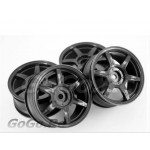 4 Pcs 1/10 RC Car 6 Spoke Wheel Rim Sports Black 9044
