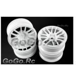 4 Pcs 1/10 White Car Wheel Rims 14 Spoke 9063