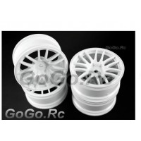 4 Pcs 1/10 White Car Wheel Rims 14 Spoke 9063