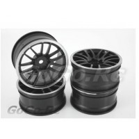 4 Pcs 1/10 Black & Silver Car Wheel Rims 14 Spoke 9069