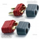1 Pair Amass T Plug Deans Male & Female Connectors with Insulated caps