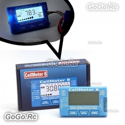 CellMeter 8 1-8S Battery Voltage Capacity Checker Discharger Backlight LiPo NiCd