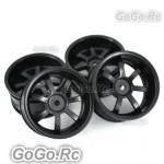 4 Pcs 1/10 RC Car 7 Spoke Wheel Rim Sports Black (CC001BK)