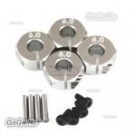 Aluminum Wheel Hex 6.0 Drive Adaptor With Pins Screws Silver TB01 TB02 TA05 TG10