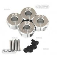 Aluminum Wheel Hex 6.0 Drive Adaptor With Pins Screws Silver TB01 TB02 TA05 TG10
