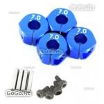 Blue Aluminum 12mm 7.0 Wheel Hex Drive Adaptor With Pins & Screws HEX7.0B