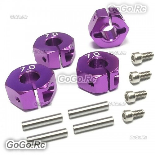 12mm Purple Wheel Hex Drive Adaptor Thickness 7mm With Pins Screws 1/10 RC Car