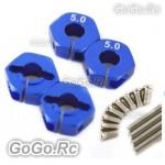 4 pcs Blue 5.0 Wheel Hex Drive Adaptor With Pins Screws TA05 TG10 TB01 (CR002BU)