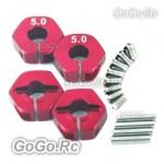 4 pcs Red 5.0 Wheel Hex Drive Adaptor With Pins Screws TA05 TG10 TB01 (CR002RD)