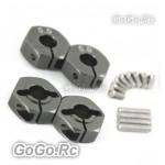 4 pcs Silver 5.0 Wheel Hex Drive Adaptor With Pins Screws TA05 TG10 TB01 CR002TI
