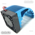 Aluminum CNC Heat Sink Radiator With Cooling Fan For 42mm Motor 4274 Blue