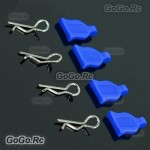 4 Pcs 1/10 RC Car Bodyshell Body Clips / Pins With Silicone Seat Blue