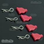 4 Pcs 1/10 RC Car Bodyshell Body Clips / Pins With Silicone Seat Red