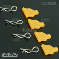 4 Pcs 1/10 RC Car Bodyshell Body Clips / Pins With Silicone Seat Yellow