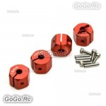 12mm Red Wheel Hex Mounting Adaptor Thickness 10mm SCX10 CC01 WRAITH 90027 90034