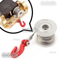 Aluminum Winch Drum and Line for RC Rock Crawler 25T Servo Winch Upgrade