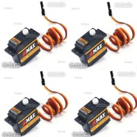 4 Pcs EMAX Model ES09A Dual-Bearing Specific Swash Servo for RC Helicopter Plane