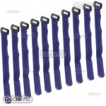 10 Pcs 210mm Battery Self-Adhesive Strap Reusable Cable Tie Wrap hook loop Blue
