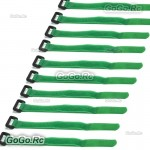 10 x 210mm Battery Self-Adhesive Strap Reusable Cable Tie Wrap hook loop Green