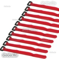 10 Pcs 210mm Battery Self-Adhesive Strap Reusable Cable Tie Wrap hook loop Red
