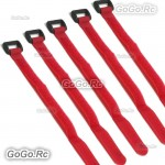 5 Pcs 210mm Battery Self-Adhesive Strap Reusable Cable Tie Wrap hook loop Red