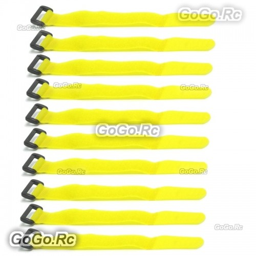 10 X 210mm Battery Self-Adhesive Strap Reusable Cable Tie Wrap hook loop Yellow
