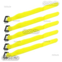 5x 210mm Battery Self-Adhesive Strap Reusable Cable Tie Wrap hook loop Yellow