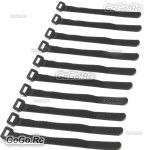 10 X 315mm Battery Self-Adhesive Strap Reusable Cable Tie Wrap hook loop Black