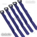 5 Pcs 315mm Battery Self-Adhesive Strap Reusable Cable Tie Wrap hook loop Blue