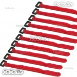 10 Pcs 315mm Battery Self-Adhesive Strap Reusable Cable Tie Wrap hook loop Red