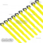 10 X 315mm Battery Self-Adhesive Strap Reusable Cable Tie Wrap hook loop Yellow