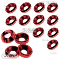 15 Pcs Aluminum Countersunk Washers Gaskets Red For M2.5 Screws