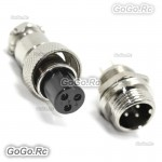 1 Set 12mm 3 Pin Aviation Plug Male & Female Wire Panel Metal Connector GX12-3