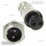 1 Set 16mm 2 Pin Aviation Plug Male & Female Wire Panel Metal Connector GX16-2