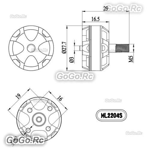 4 Pcs Gartt Ml2204s 2300kv Cw Ccw Brushless Motor For Multirotor