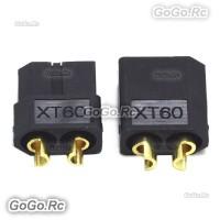 1 Pair XT60 Bullet Connectors Plugs Male & Female For RC LiPo Battery Black