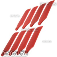 4x Tail Rotor Blade For Trex T-rex 450 Helicopter - Red (RHS1208-RD)
