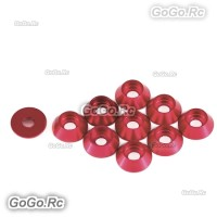 10 Pcs Main Frame Hardware Washers Body Gaskets Red For M3 Screws 550 Helicopter