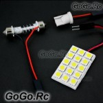 15 SMD 5050 LED car Dome Light panel Lamp 12V White (5050-P15-WH)