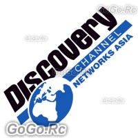 Discovery channel Sticker Decal Emblem Black & Blue 100mmx200mm - CSD002BB
