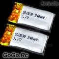 2x 3.7v 240mAh LiPo Battery for SH 6020 6020-1 6023-1 Mini Helicopter - SY027x2