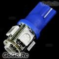 2 Pcs T10 5-SMD 5050 LED Car Lights Bulbs 194 168 501 - Blue (5050-B5-BU)