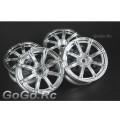 4 Pcs 1/10 RC Car 8 Spoke Wheel Rim Sports Silver 9020