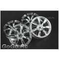 4 Pcs 1/10 RC Car 7 Spoke Wheel Rim Sports Silver 9025