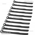 10 x 210mm Battery Self-Adhesive Strap Reusable Cable Tie Wrap hook loop Black