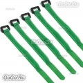 5 Pcs 210mm Battery Self-Adhesive Strap Reusable Cable Tie Wrap hook loop Green